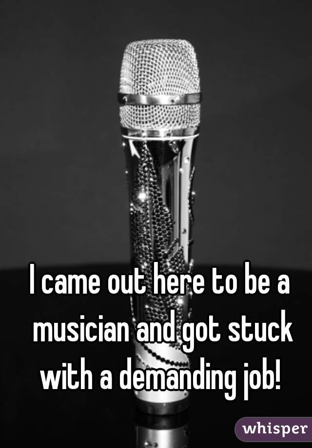 I came out here to be a musician and got stuck with a demanding job!