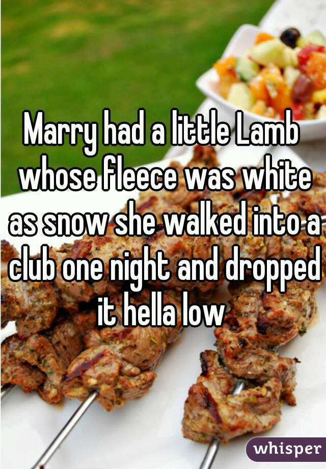Marry had a little Lamb whose fleece was white as snow she walked into a club one night and dropped it hella low