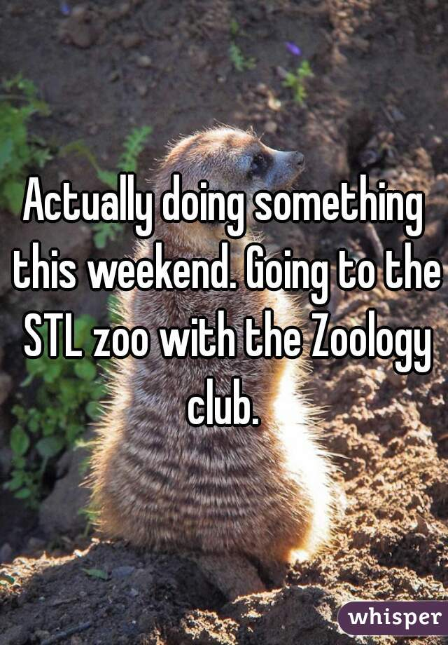 Actually doing something this weekend. Going to the STL zoo with the Zoology club.