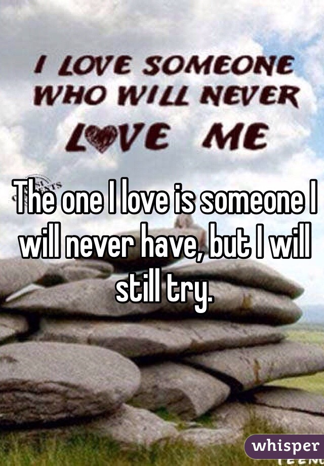 The one I love is someone I will never have, but I will still try.