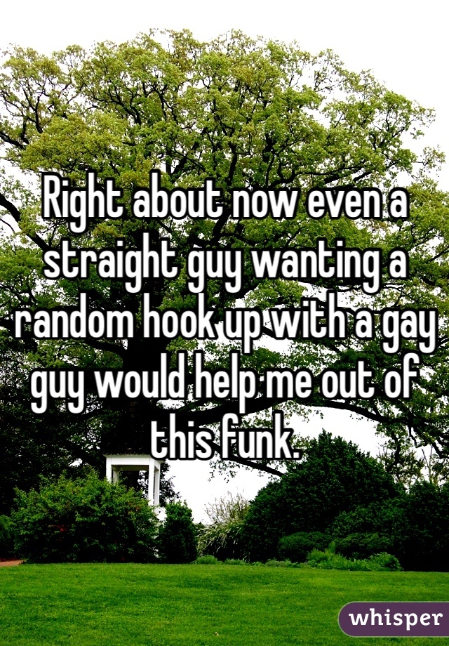 Right about now even a straight guy wanting a random hook up with a gay guy would help me out of this funk.