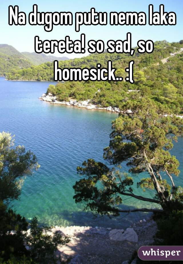 Na dugom putu nema laka tereta! so sad, so homesick.. :(