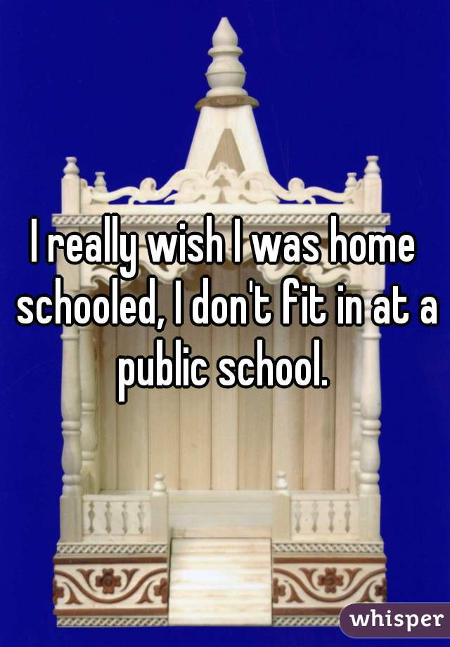 I really wish I was home schooled, I don't fit in at a public school.