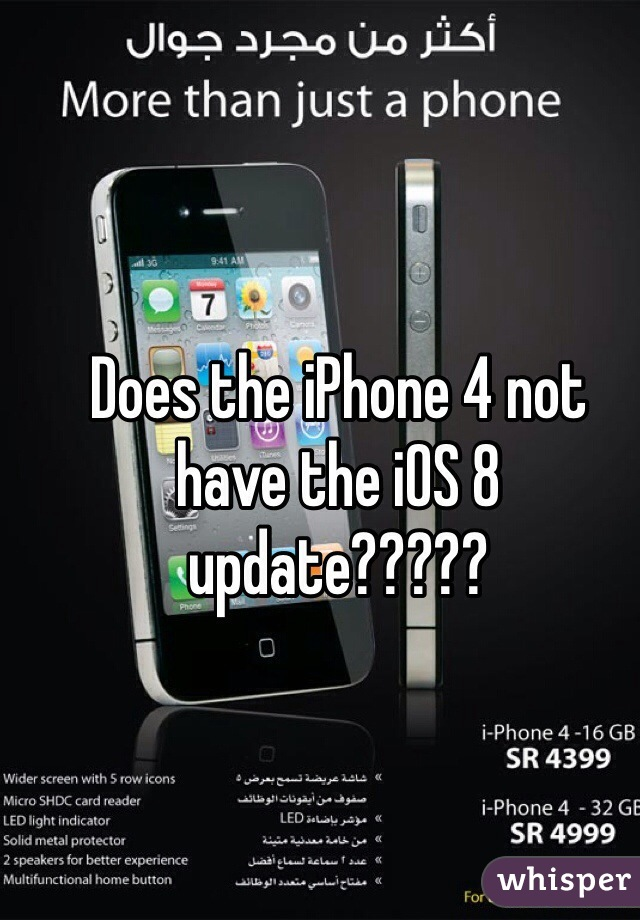 Does the iPhone 4 not have the iOS 8 update?????