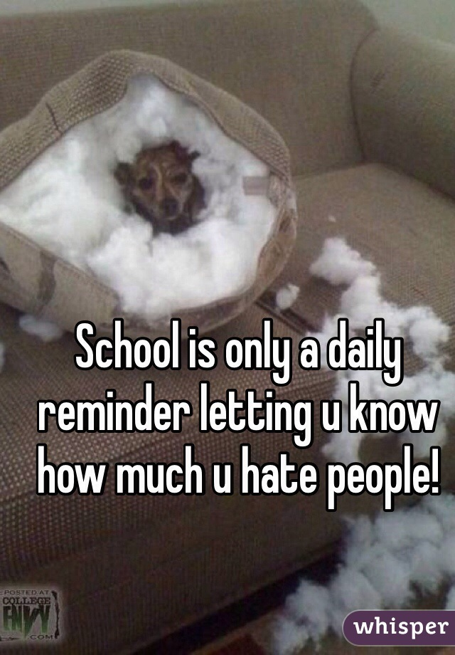 School is only a daily reminder letting u know how much u hate people!