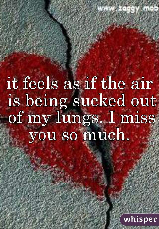 it feels as if the air is being sucked out of my lungs. I miss you so much.
