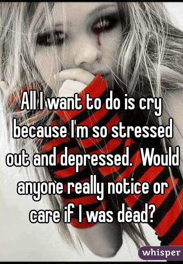 All I want to do is cry because I'm so stressed out and depressed.  Would anyone really notice or care if I was dead?