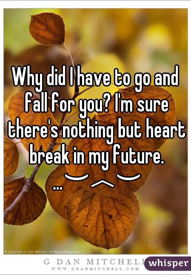 Why did I have to go and fall for you? I'm sure there's nothing but heart break in my future. …︶︿︶