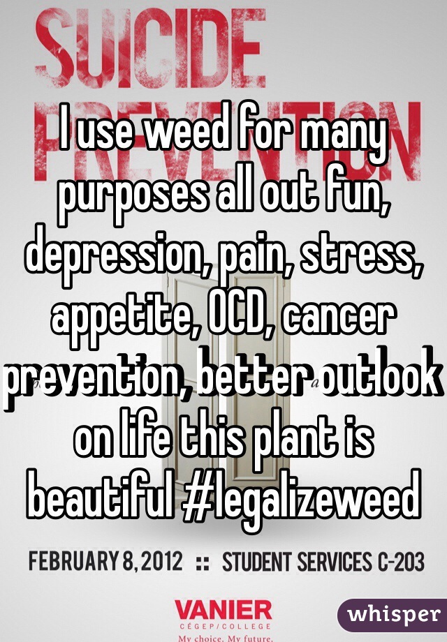 I use weed for many purposes all out fun, depression, pain, stress, appetite, OCD, cancer prevention, better outlook on life this plant is beautiful #legalizeweed