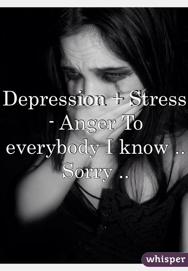 Depression + Stress - Anger To everybody I know .. Sorry ..