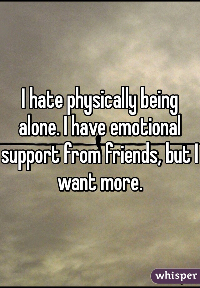 I hate physically being alone. I have emotional support from friends, but I want more.