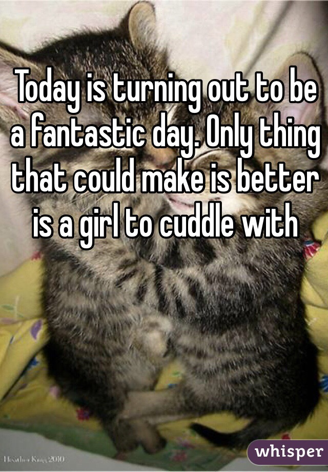 Today is turning out to be a fantastic day. Only thing that could make is better is a girl to cuddle with