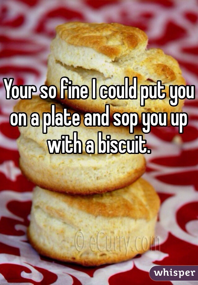 Your so fine I could put you on a plate and sop you up with a biscuit.