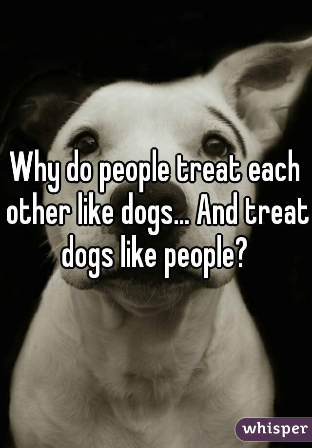 Why do people treat each other like dogs... And treat dogs like people?