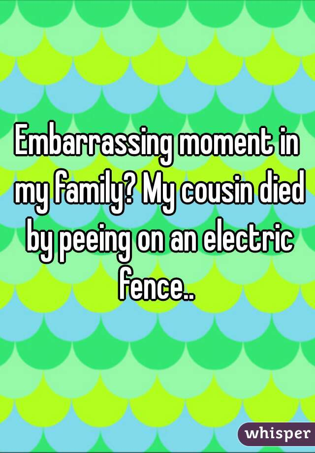 Embarrassing moment in my family? My cousin died by peeing on an electric fence..