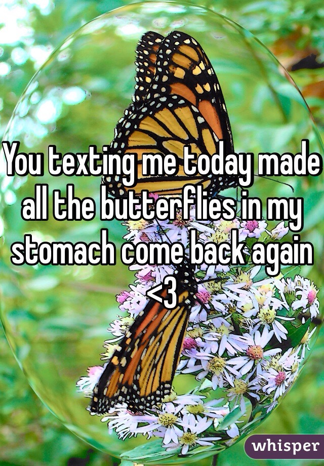 You texting me today made all the butterflies in my stomach come back again <3