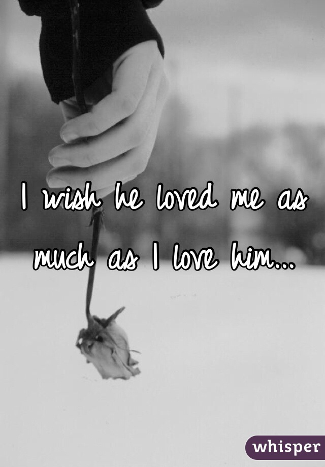 I wish he loved me as much as I love him...
