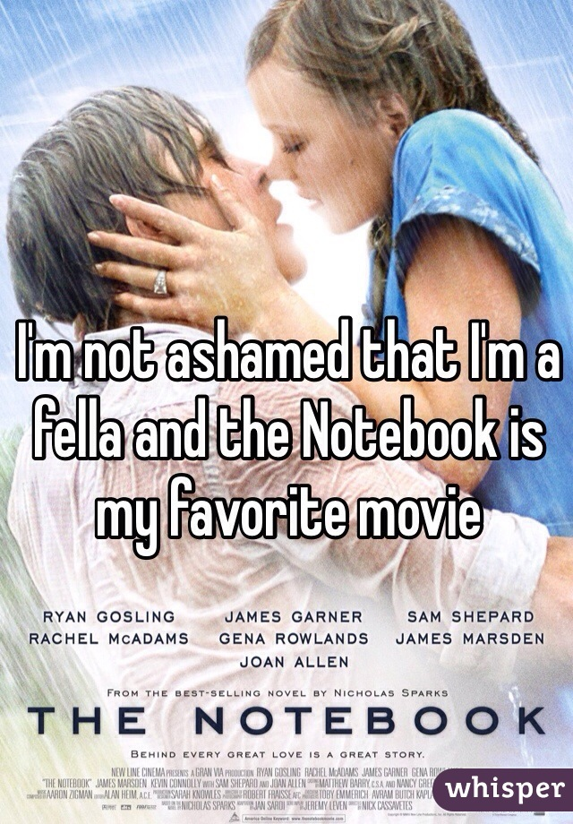 I'm not ashamed that I'm a fella and the Notebook is my favorite movie
