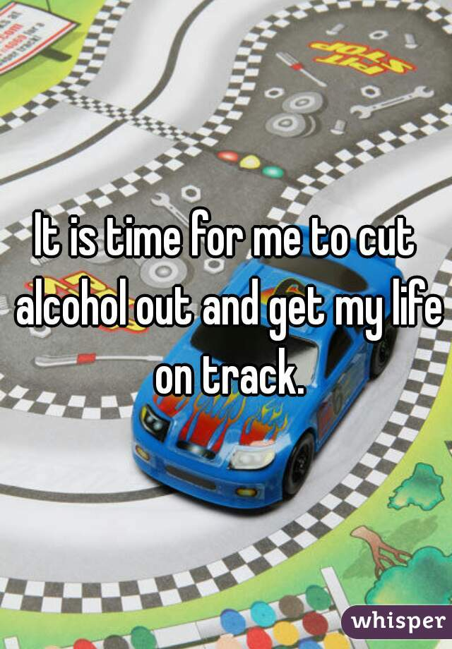 It is time for me to cut alcohol out and get my life on track.