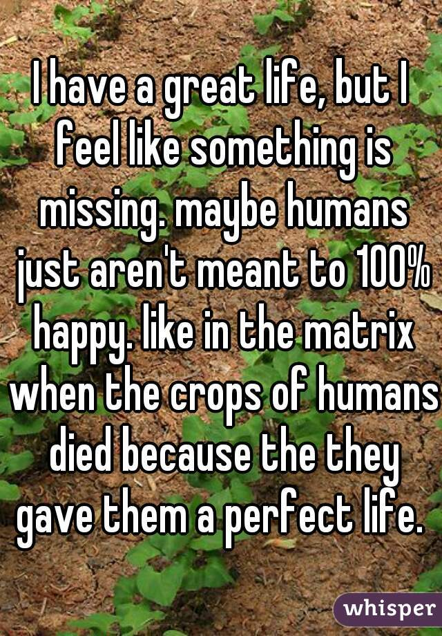I have a great life, but I feel like something is missing. maybe humans just aren't meant to 100% happy. like in the matrix when the crops of humans died because the they gave them a perfect life.