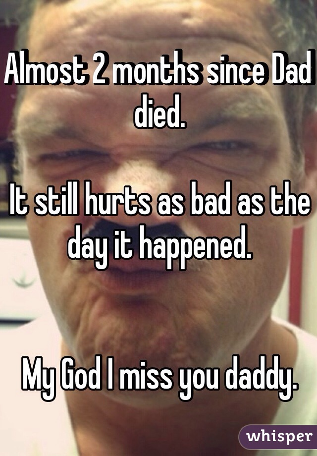 Almost 2 months since Dad died.   It still hurts as bad as the day it happened.    My God I miss you daddy.