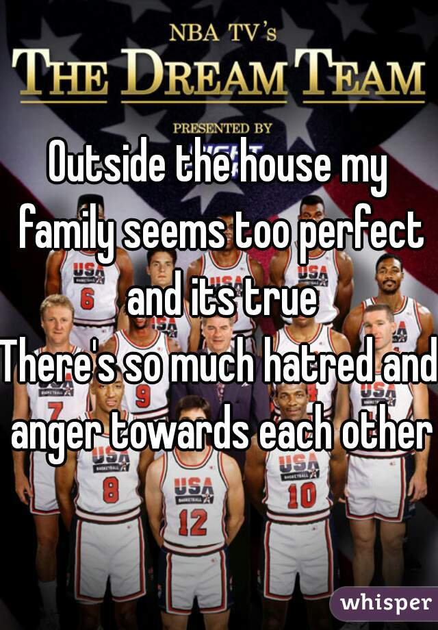 Outside the house my family seems too perfect and its true  There's so much hatred and anger towards each other
