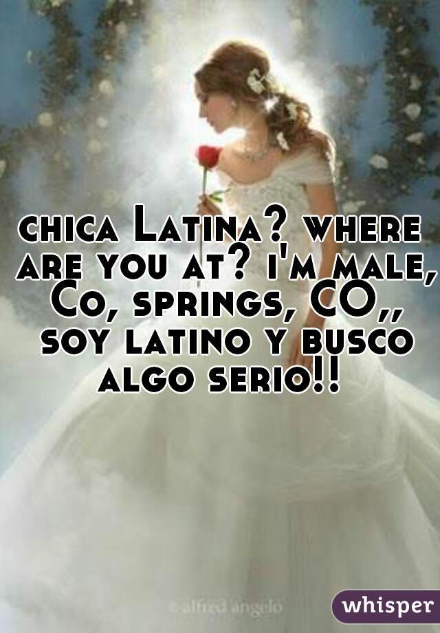 chica Latina? where are you at? i'm male, Co, springs, CO,, soy latino y busco algo serio!!
