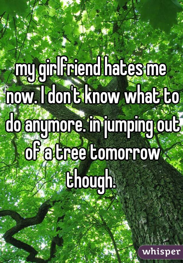 my girlfriend hates me now. I don't know what to do anymore. in jumping out of a tree tomorrow though.