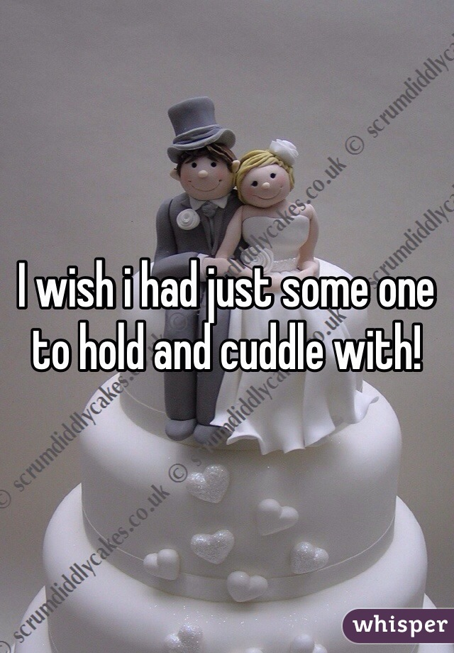 I wish i had just some one to hold and cuddle with!