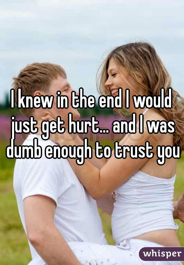 I knew in the end I would just get hurt... and I was dumb enough to trust you