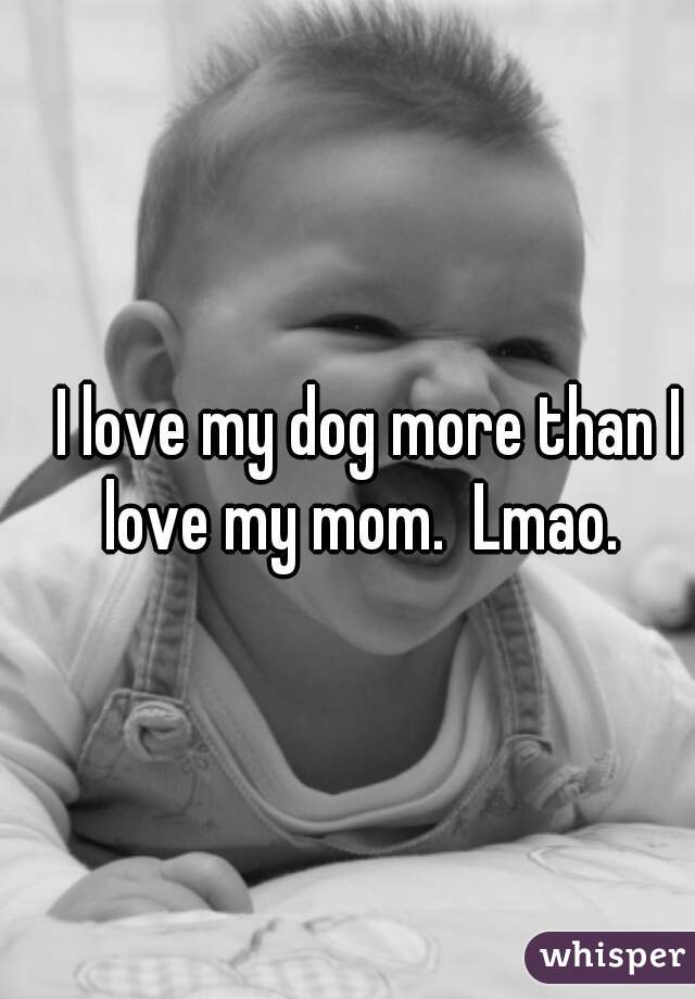 I love my dog more than I love my mom.  Lmao.