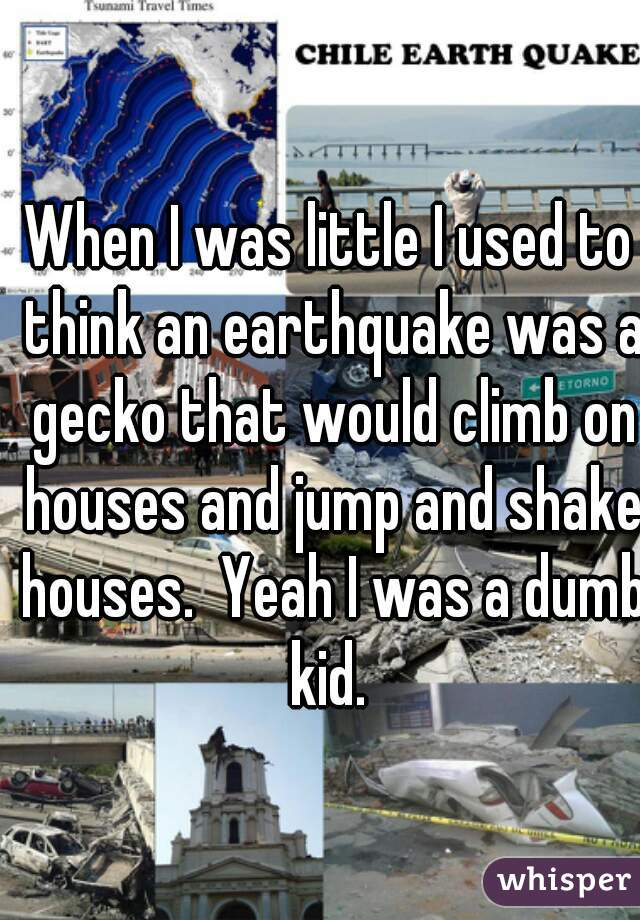 When I was little I used to think an earthquake was a gecko that would climb on houses and jump and shake houses.  Yeah I was a dumb kid.