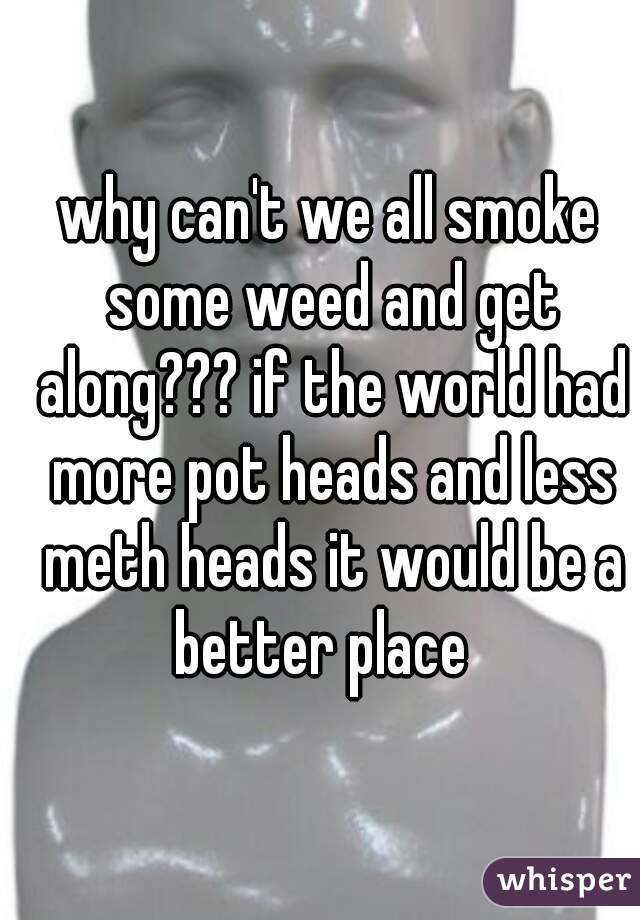 why can't we all smoke some weed and get along??? if the world had more pot heads and less meth heads it would be a better place