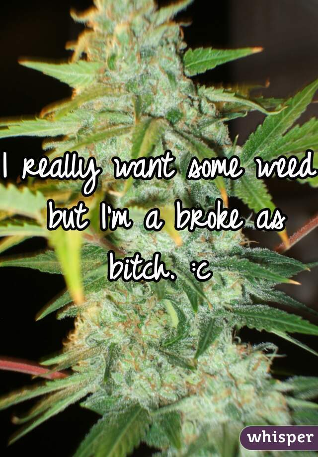 I really want some weed but I'm a broke as bitch. :c