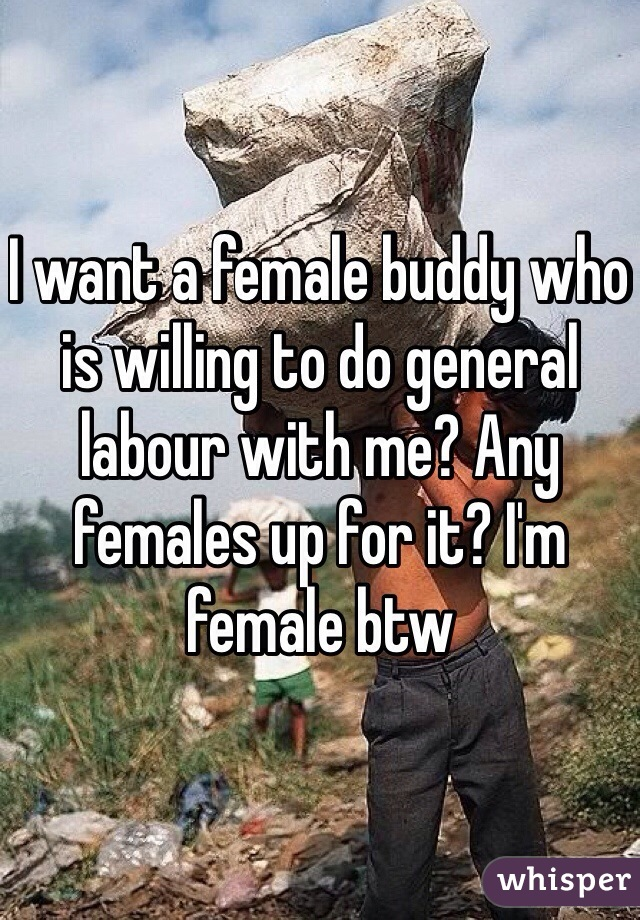 I want a female buddy who is willing to do general labour with me? Any females up for it? I'm female btw