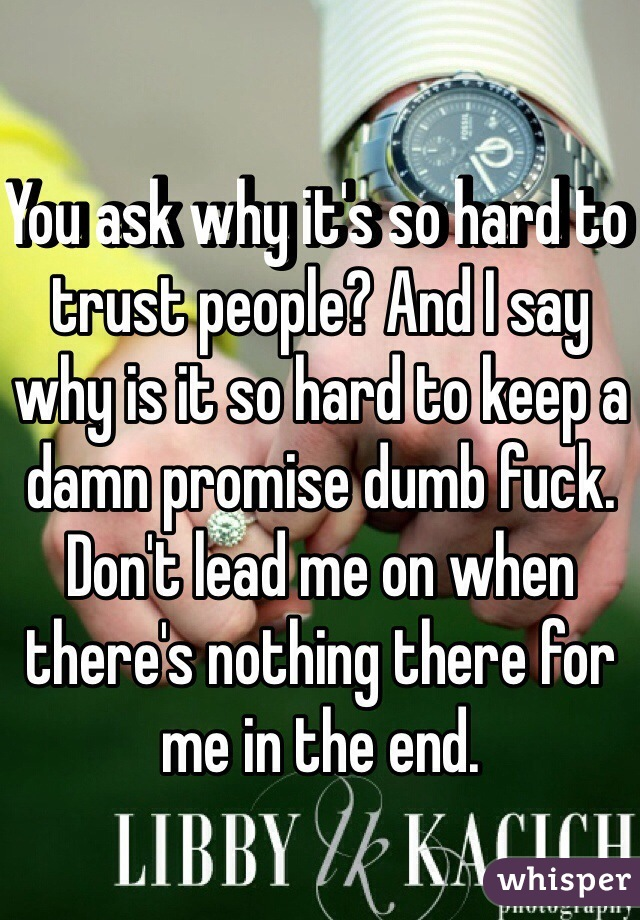 You ask why it's so hard to trust people? And I say why is it so hard to keep a damn promise dumb fuck. Don't lead me on when there's nothing there for me in the end.