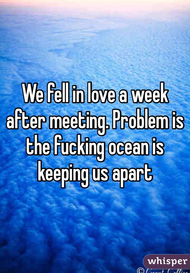 We fell in love a week after meeting. Problem is the fucking ocean is keeping us apart