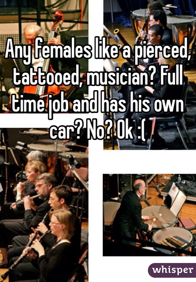 Any females like a pierced, tattooed, musician? Full time job and has his own car? No? Ok :(