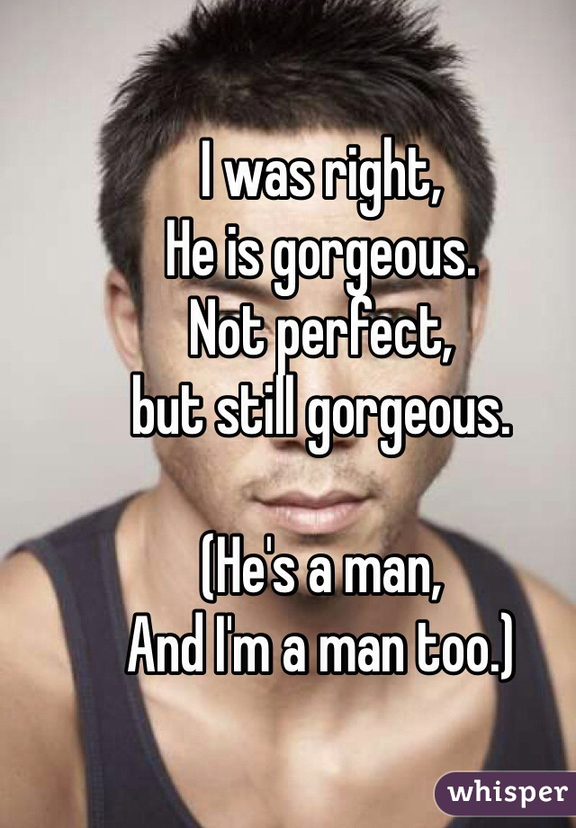 I was right, He is gorgeous. Not perfect,  but still gorgeous.   (He's a man, And I'm a man too.)