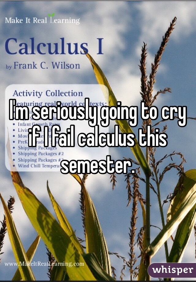I'm seriously going to cry if I fail calculus this semester.