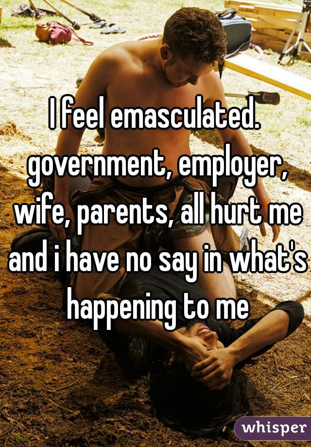 I feel emasculated. government, employer, wife, parents, all hurt me and i have no say in what's happening to me