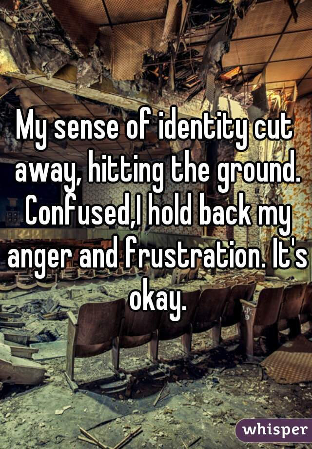 My sense of identity cut away, hitting the ground. Confused,I hold back my anger and frustration. It's okay.