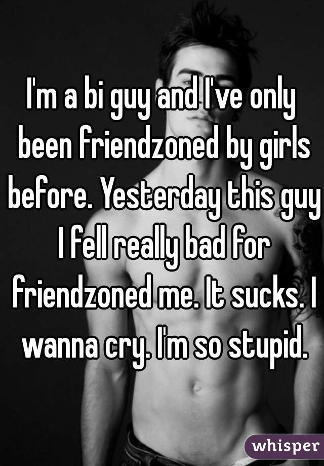 I'm a bi guy and I've only been friendzoned by girls before. Yesterday this guy I fell really bad for friendzoned me. It sucks. I wanna cry. I'm so stupid.