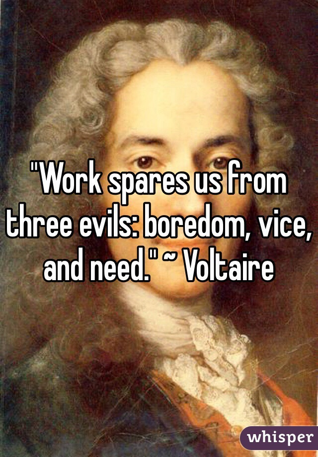 """Work spares us from three evils: boredom, vice, and need."" ~ Voltaire"