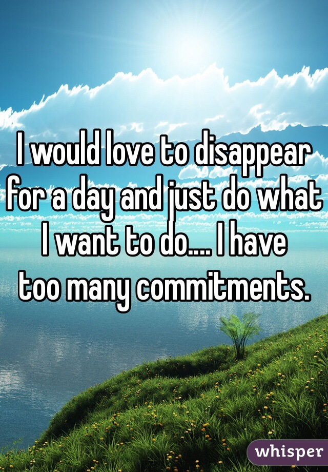 I would love to disappear for a day and just do what I want to do.... I have  too many commitments.