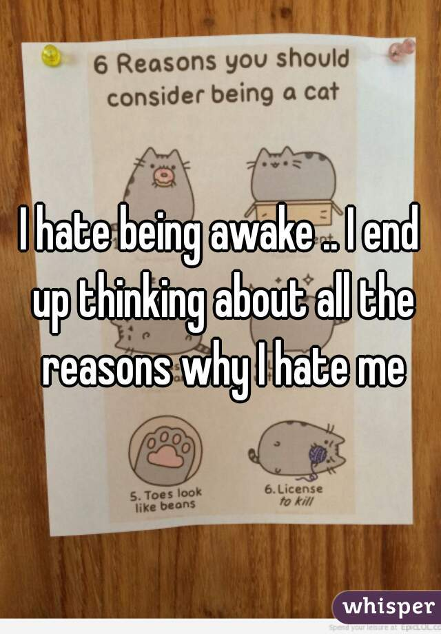 I hate being awake .. I end up thinking about all the reasons why I hate me