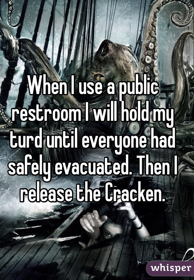 When I use a public restroom I will hold my turd until everyone had safely evacuated. Then I release the Cracken.