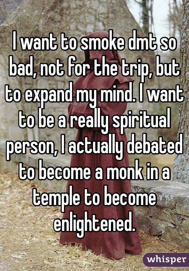 I want to smoke dmt so bad, not for the trip, but to expand my mind. I want to be a really spiritual person, I actually debated to become a monk in a temple to become enlightened.