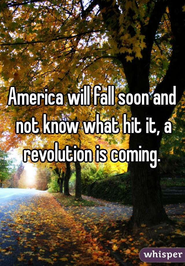 America will fall soon and not know what hit it, a revolution is coming.