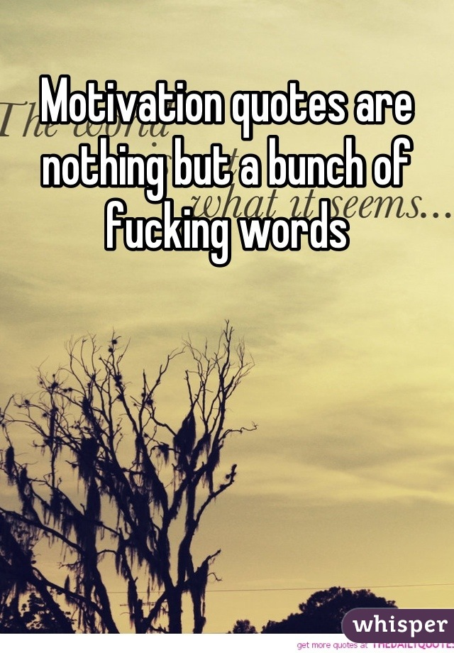 Motivation quotes are nothing but a bunch of fucking words